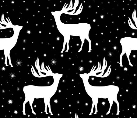 Winter vector seamless pattern with deers silhouettes and white snowflakes Illustration