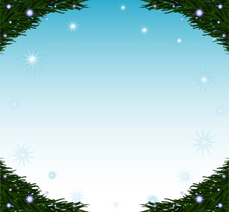 Vector decorative Happy New Year frame with fir branches and snowflakes Illustration