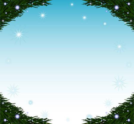 Vector dekorative Frohes Neues Jahr-Frame mit Tannenzweigen und Schneeflocken Standard-Bild - 66583933