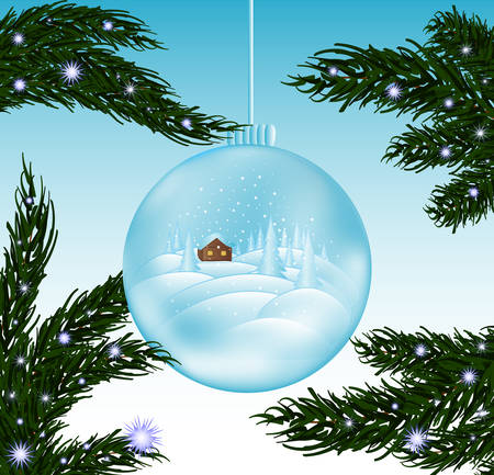 Merry Christmas beautiful vector greeting cad with glass snowball and snow-covered fir branches Illustration