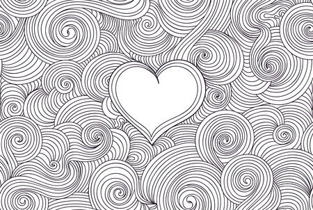 Decorative vector seamless pattern with handwritten curling lines and heart