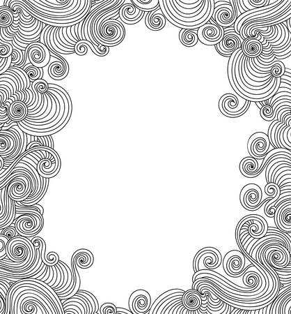 Beautiful abstract vector frame with handwritten curling lines 向量圖像