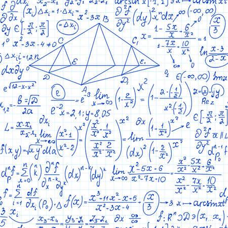 Matemáticas vector de patrones sin fisuras con fórmulas de álgebra, cálculos y diagramas, escritos a mano en una hoja de papel de cuaderno de cuadrícula