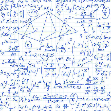 Nahtloses Muster des Mathevektors mit Algebraformeln, -berechnungen und -diagrammen, handgeschrieben auf einem Rasterbriefblatt Papier