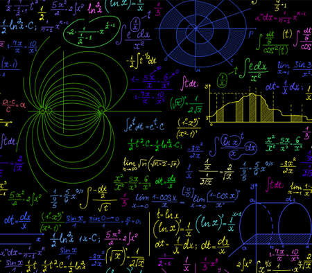 Math multicolored vector seamless pattern with various algebra formulas, calculations and geometrical figures. You can use any color of background