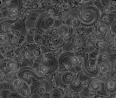 Abstract vector seamless pattern with figured curling lines 向量圖像