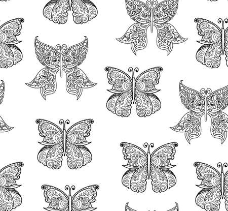 Beautiful vector seamless pattern with handwritten ornamental butterflies with figured wings