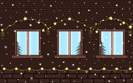 Merry Christmas and Happy New Year vector seamless background with brick house wall with windows, festive illumination and winter snow