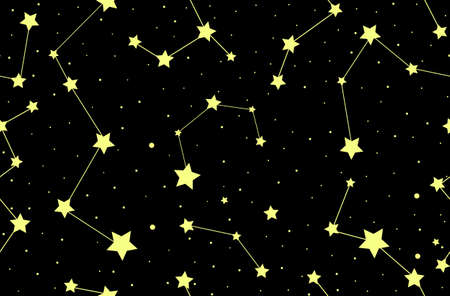 Vector seamless pattern with stars and constellations. You can use any color of background