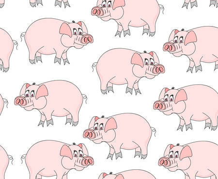 Decorative vector seamless pattern with cute funny pigs