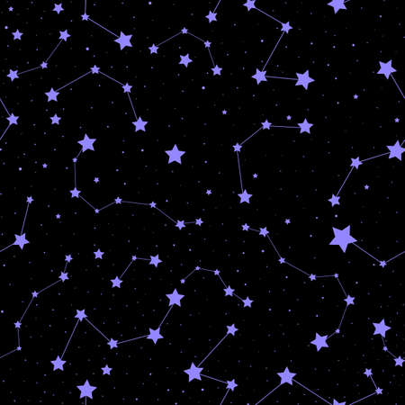 Starry space vector seamless background with stars, galaxies and constellations 向量圖像