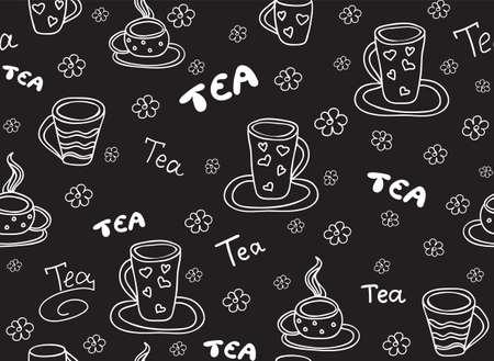 """Modèle sans couture de vecteur de nourriture et de boisson avec des tasses à thé et les mots, effet """"écrit à la main à la craie sur un tableau gris"""""""