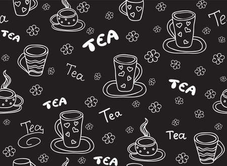 Food and beverage vector seamless pattern with tea cups and the words, handwritten by chalk on grey board effect