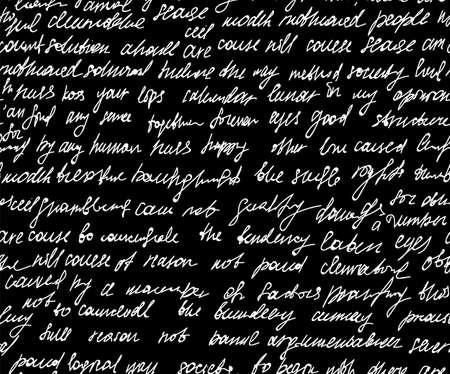 """Patrón transparente de vector abstracto con texto escrito a mano, efecto """"escritos de tiza en la pizarra"""" Ilustración de vector"""