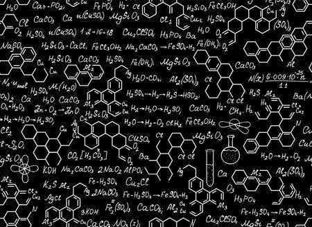 Scientific chemical vector seamless pattern with handwritten chemistry formulas 向量圖像