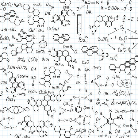 Chemistry vector seamless pattern with handwritten chemical formulas Illustration
