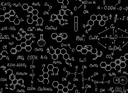 Patrón transparente de vector químico con fórmulas de química escritas a mano. Fondo educativo científico sin fin. Ilustración de vector
