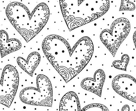 Wedding decorative vector seamless pattern with handwritten hearts