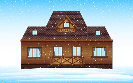 Beautiful winter house on the landscape with frozen snowhills. Colorful merry Christmas vector background