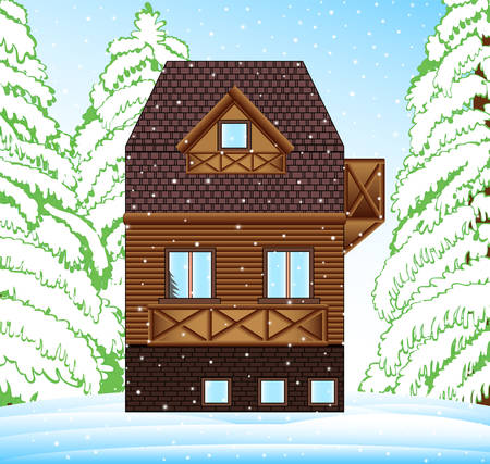 Vector winter family house in the forest around trees and snowhills. Merry Christmas and Happy New Year illustration 向量圖像