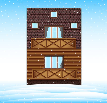 Winter house in the landscape with frozen snowhills, merry Christmas vector background