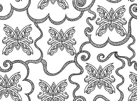 Beautiful abstract vector seamless pattern with figured butterflies