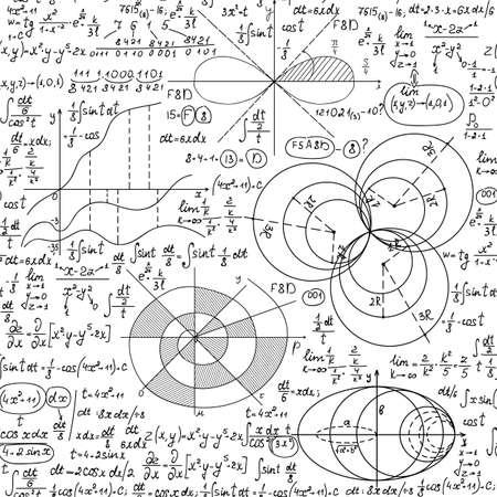 Math vector seamless background with handwritten formulas