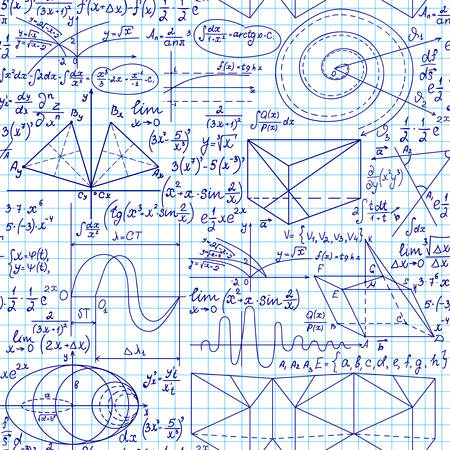 Vector seamless pattern with math handwritten formulas on a white grid copybook paper