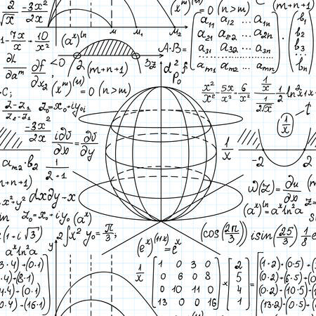 Arrière-plan transparent de vecteur scientifique mathématique avec des formules mathématiques, des parcelles et des équations manuscrites sur du papier de cahier de grille