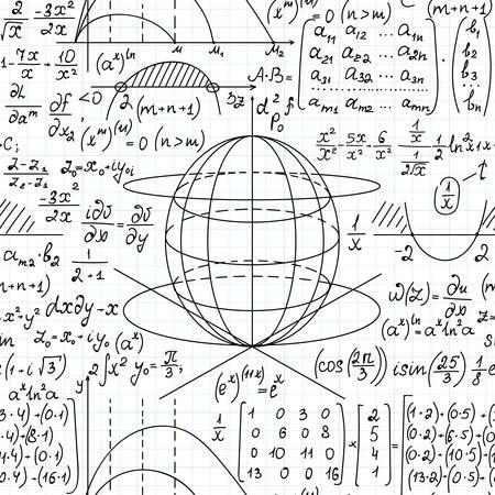 Nahtloser Hintergrund des mathematischen wissenschaftlichen Vektors mit mathematischen Formeln, Diagrammen und Gleichungen, die auf Rasterbriefpapier handgeschrieben sind