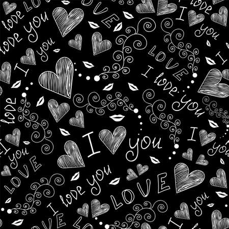 Valentine vector seamless pattern with handwritten words of love, hearts and doodles