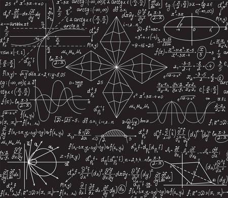 Mathevektornahtloses Muster mit Algebra- und Geometrieformeln handgeschrieben auf einer grauen Tafel