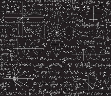 Patrón transparente de vector de matemáticas con fórmulas de álgebra y geometría escritas a mano en una pizarra gris