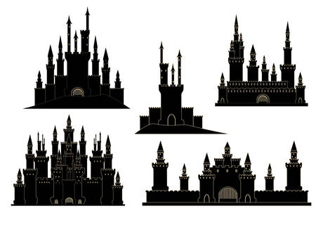 Vector set with old medieval castles