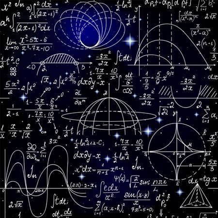 Mathematical vector seamless pattern with formulas, figures and calculations handwritten on the background of stars