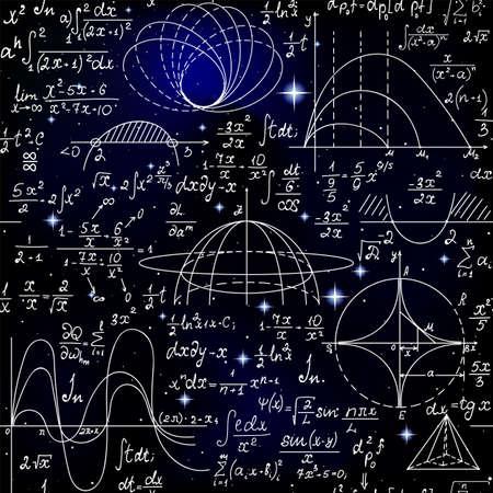 Nahtloses Muster des mathematischen Vektors mit Formeln, Zahlen und Berechnungen, die auf dem Hintergrund der Sterne handgeschrieben sind Vektorgrafik
