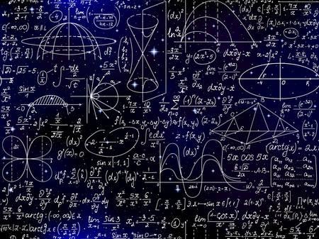 Modèle sans couture de vecteur de maths avec des formules, des chiffres et des calculs manuscrits sur le fond étoilé Vecteurs