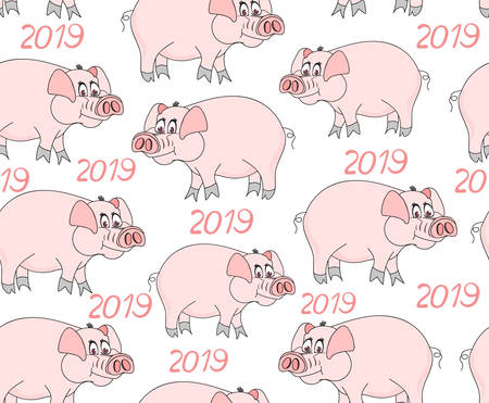 Decorative vector seamless pattern with cute funny pigs -- the symbol of 2019 year