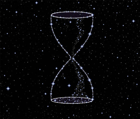 Shining vector hourglass made of stars