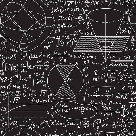 Nahtloses Muster des mathematischen Vektors mit geometrischen Figuren, Diagrammen und Formeln