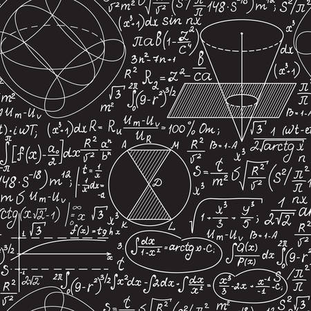 Wiskundig vector naadloos patroon met geometrische figuren, plots en formules