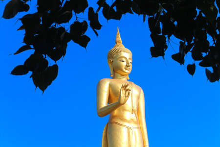 Gold Buddha statue with the sky in the background