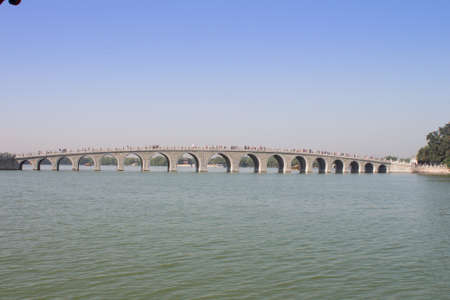 The Seventeen Arch Bridge over Kunming Lake in the Summer Palace, Beijing, China.