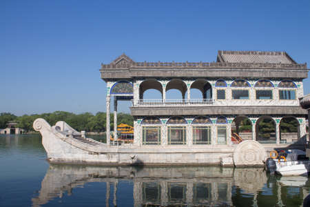 Marble boat of purity and ease at the summer palace, Beijing, China