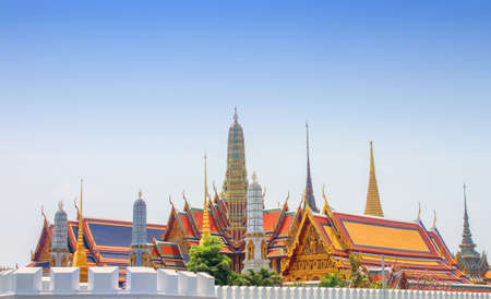 Wat Phra Kaew complex view of the roof top and the complexs wall