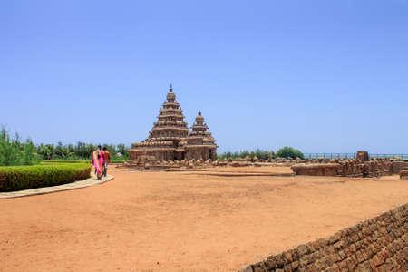 People walking to shore temple at Mahabalipuram, Tamil Nadu, India