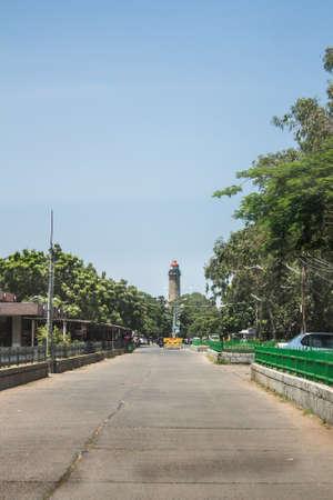 Road leads to the light house at Mahabalipuram, Tamil Nadu, India