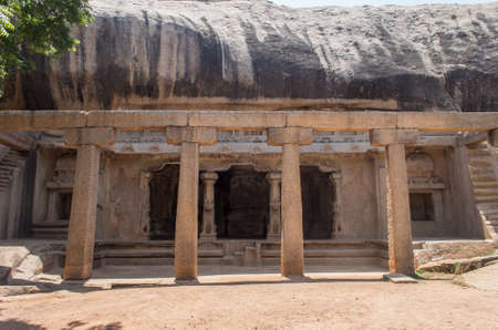 cave temple Archaeological site on the hill at Mahabalipuram, India