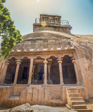 Mahishamardini Rock Cut Mandapa Archaeological site on the hill at Mahabalipuram, India Stock Photo