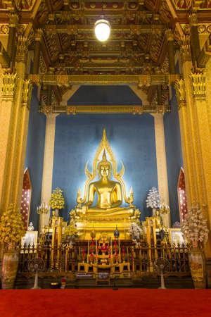 BANGKOK, THAILAND - MAR 9, 2016: Buddha at Wat Benchamabophit temple, Bangkok, Thailand